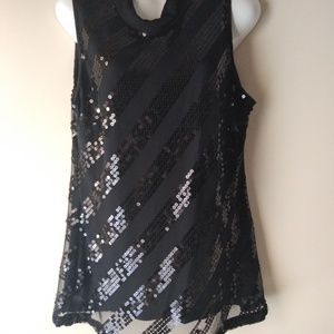 John Paul Richard Women's Sleeveless Black Sequi